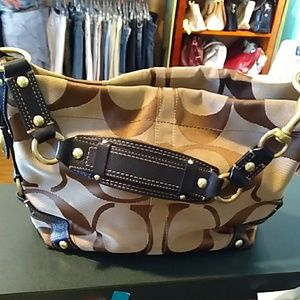 Coach Carley canvas and leather signature Bag
